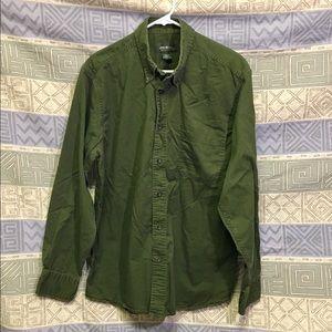 Eddie Bauer Green Size L - Men's Long Sleeve Shirt